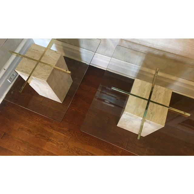 Image of Mid-Century Travertine Side Tables - A Pair
