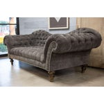Image of Charcoal Tufted Inverted Camelback Sofa