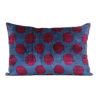 Blue & Burgundy Silk Velvet Accent Pillow
