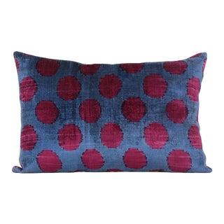 Blue & Burgundy Silk Velvet Accent Pillow