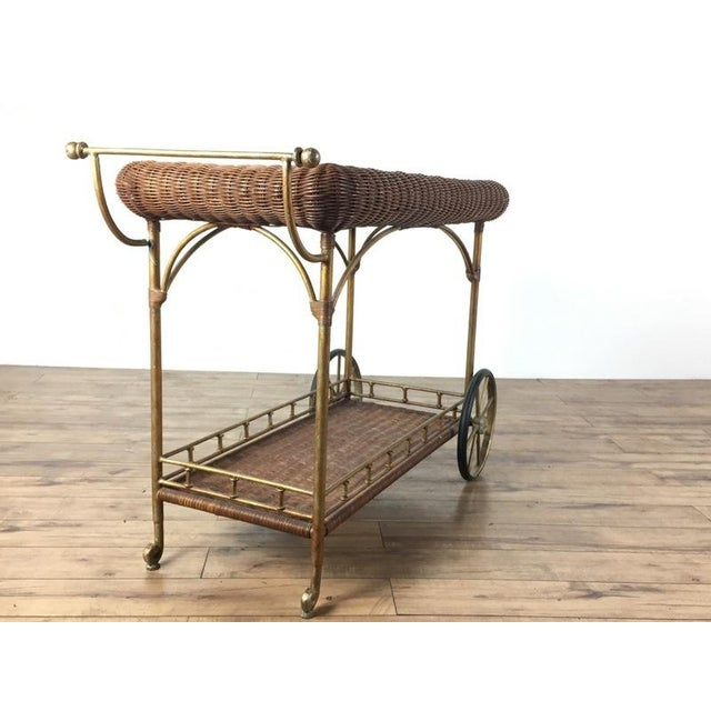 Vintage Wicker Wrapped Bar Cart - Image 3 of 7