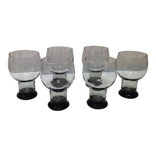 Mid-Century Modern Smokey Grey Glassware - Set of 6