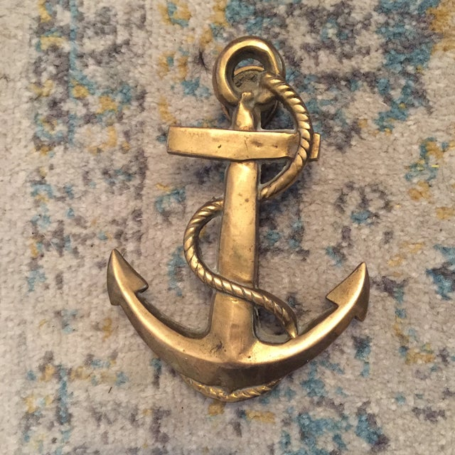 Nautical Coastal Beach House Anchor & Rope Brass Door Knocker - Image 10 of 11