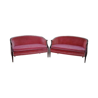Hickory Chair Pair of Solid Mahogany Federal Style Settees