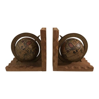 Old World Globe Bookends - A Pair