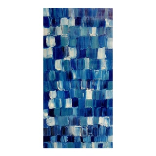 """Blue Thing"" Modern Geometric Crosshatch Painting"
