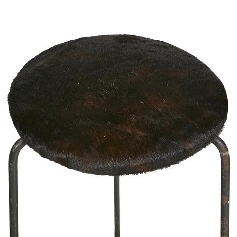 Image of Wrought Iron & Cowhide Seat Stool