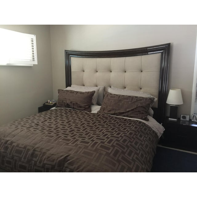 Modern Tufted King Bed in Beige Suede - Image 8 of 10