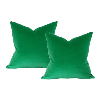 "Emerald Green Velvet Pillow Covers - a Pair 17""sq"