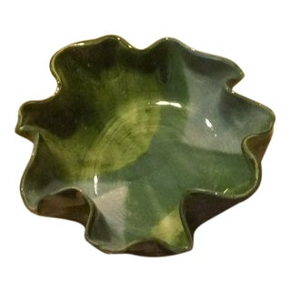 Green Sculptural Pottery Handkerchief Bowl