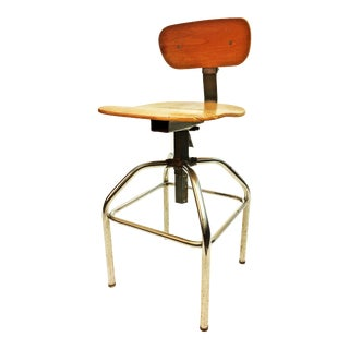 Vintage Industrial Gray Metal & Wood Drafting Stool