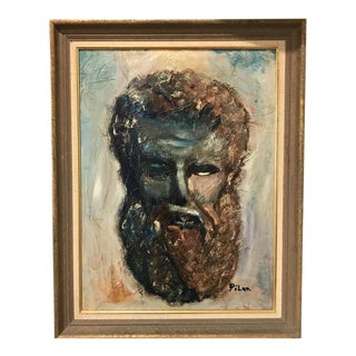 Vintage Portrait Painting of a Bearded Man by Pilar