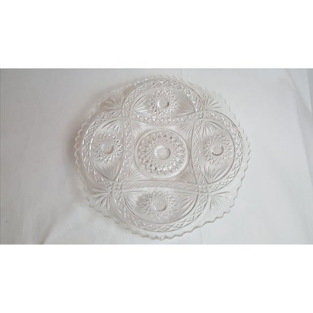 Shallow Patterned Glass Bowl/Platter - Image 3 of 4