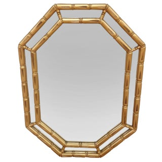 Gold Faux Bamboo Octagonal Mirror