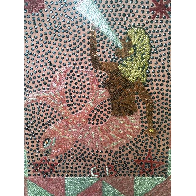Vintage Mermaid Clotaire Bazile Sequins Flag - Image 4 of 6