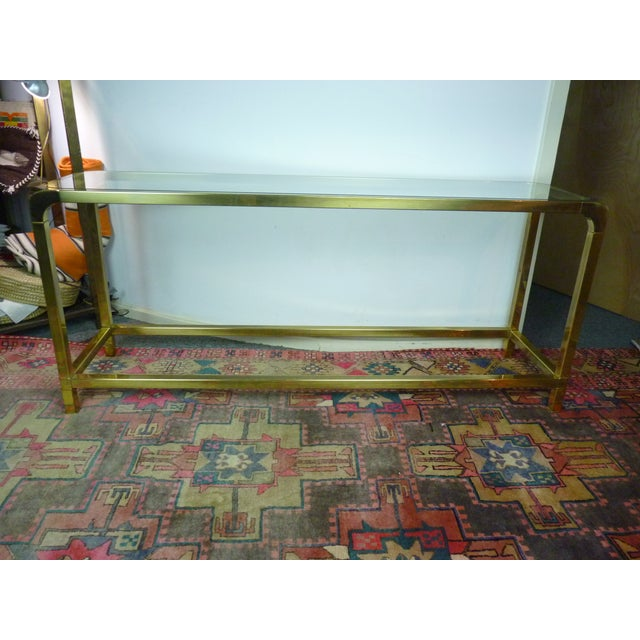 Mastercraft Vintage Brass & Glass Console Table - Image 2 of 11
