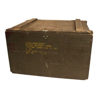 Vintage Military Green Wood Crate