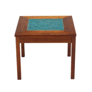 Small Solid Walnut-Frame Art Tile-Top Side Table