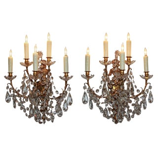 Pair of Signed Baccarat Crystal & Bronze Sconces