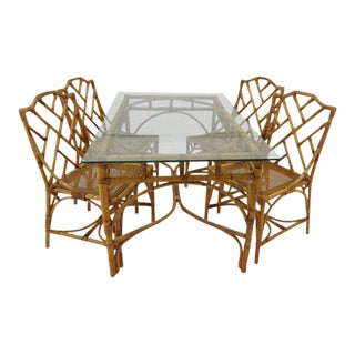 Italian Rattan Chippendale Dining Set