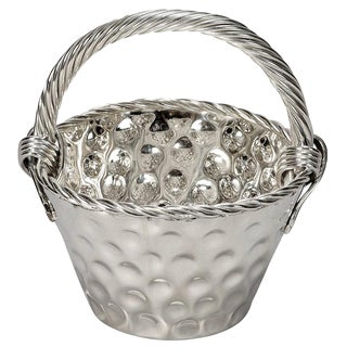 Mid-Century Hammered SIlver Plate Tall Handled Basket