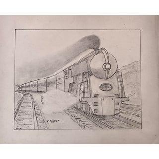 Vintage Art Deco Steam Locomotive NY Drawing