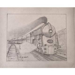 Vintage Art Deco Steam Locomotive NY Drawing
