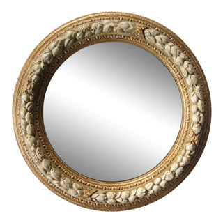 Well-Carved English Georgian Style Ivory Painted Circular Mirror