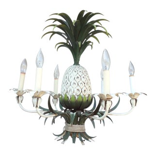 6-Light Painted Tole Pineapple Chandelier