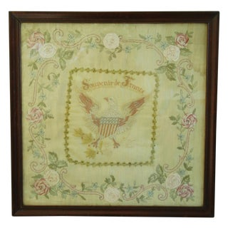 Antique Framed French Silk Embroidered Sampler