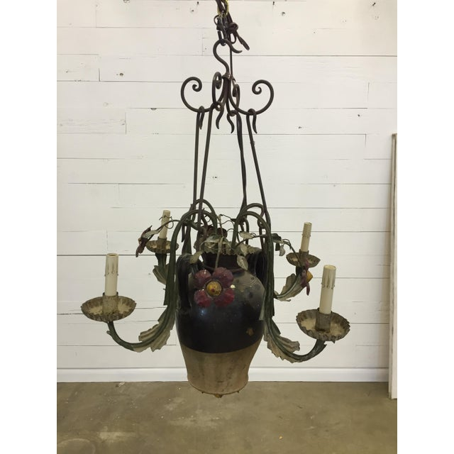 Antique Italian Tole And Ceramic Chandelier Image 5 Of 6