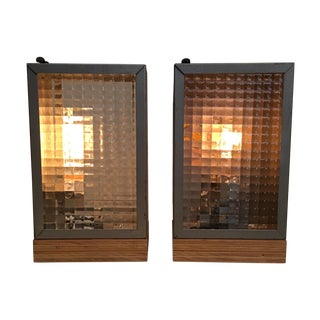 Vintage Exit Sign Lamps by Ted Harris - Pair