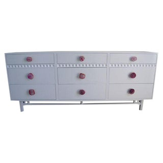 Mid-Century White 9 Drawer Dresser