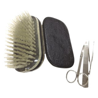 German Silver & Ostrich Grooming Travel Kit