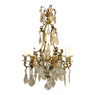 Antique Chandelier Gilt Bronze and Crystal