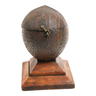 Antique Coconut Shell Tea Caddy