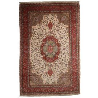 "RugsinDallas Hand Knotted Silk & Wool Persian Tabriz Rug - 12'9"" X 19'9"""