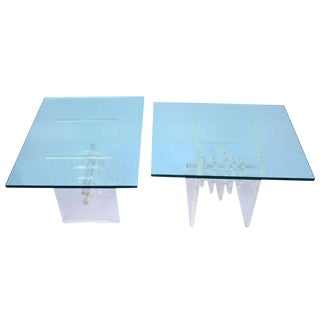 Stacked Lucite & Glass Top Side Tables - A Pair