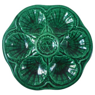 Green Majolica Oyster Plate