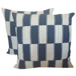 Image of Checkerboard African Blue And White Pillows - Pair