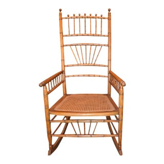 English Late 19th Century Bamboo-Turned Rocking Chair