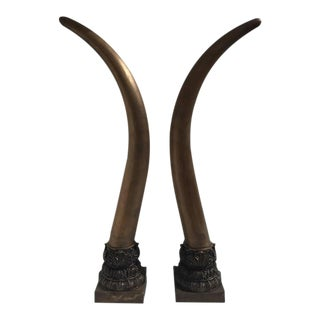 Pair of Bronze Faux Elephant Tusks