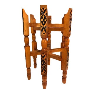 Hand-Carved Wood Tray Legs