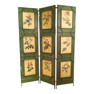 Botanical Folk Art Screen Room Divider