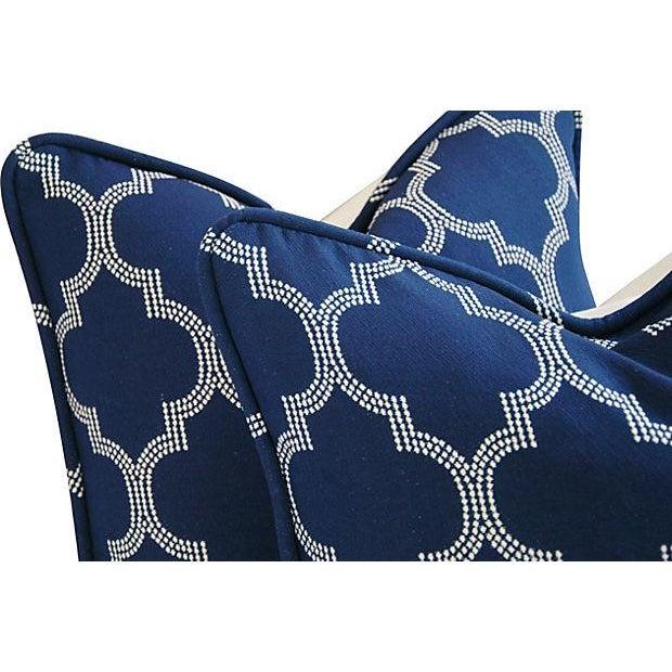 Custom Bocce Blue White Geometric Pillows- A Pair - Image 4 of 7