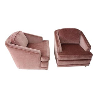 1970's Mauve Velvet Club Chairs - A Pair