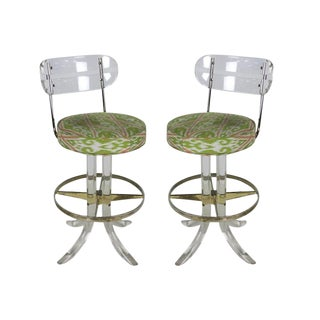 Pair of Lucite and Brass Counter Stools by Hill Mfg..