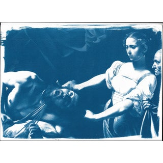 Limited Serie Cyanotype Print, Caravaggio Painting Judith Beheading Holofernes