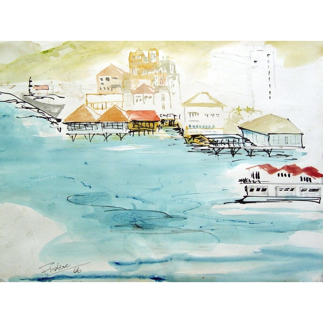 Exotic Harbor Watercolor Painting - Image 1 of 3