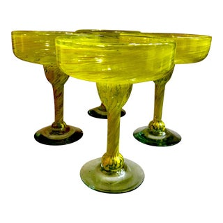 Hand Blown Mexican Yellow Swirl Margarita Glasses - Set of 4